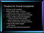 timeline for formal complaints