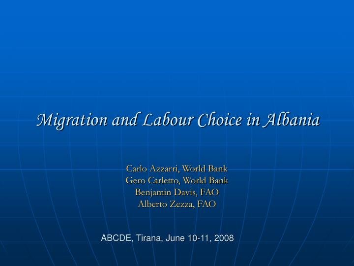 migration and labour choice in albania n.