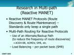 research in multi path reactive manet
