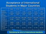 acceptance of international students in major countries
