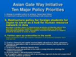 asian gate way initiative ten major policy priorities