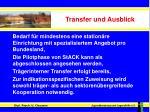 transfer und ausblick