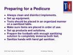 preparing for a pedicure