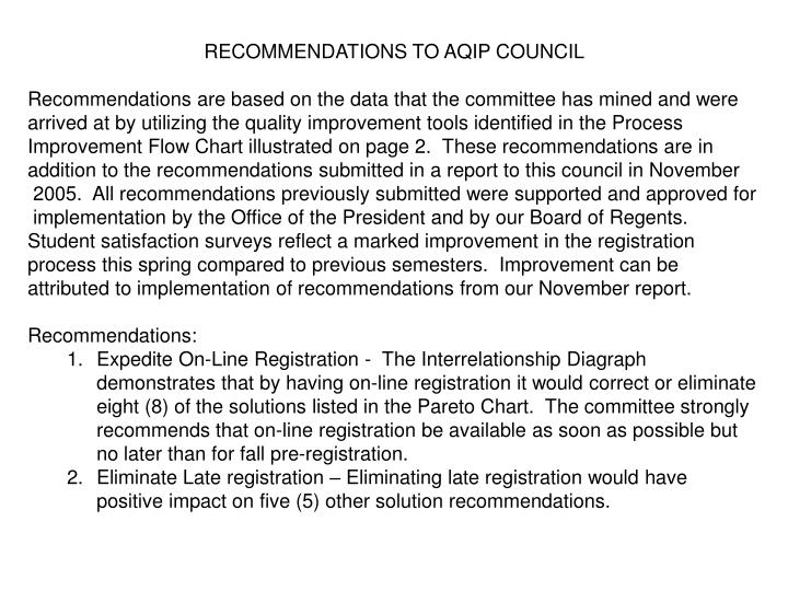 RECOMMENDATIONS TO AQIP COUNCIL