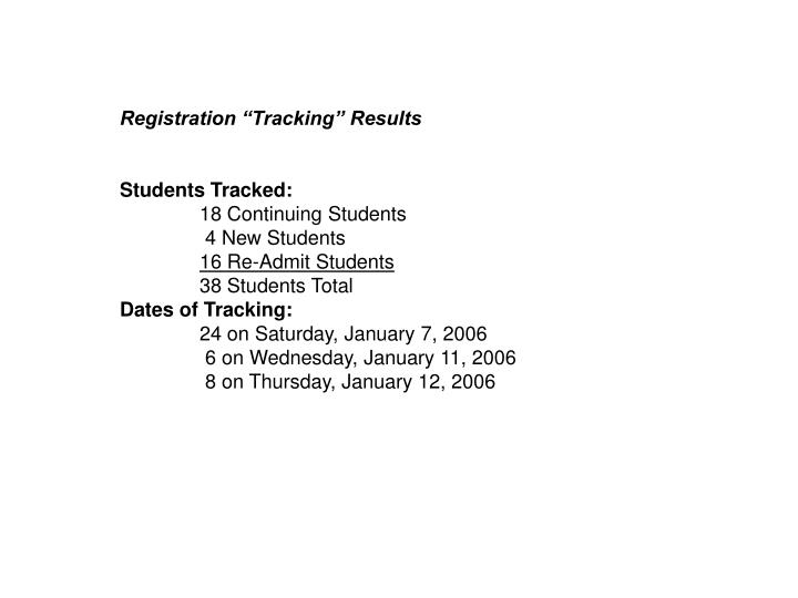 "Registration ""Tracking"" Results"