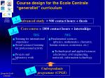 course design for the ecole centrale generalist curriculum
