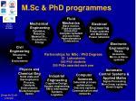 m sc phd programmes