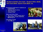student activities and clubs student office bde arts club bda sports club bds etc