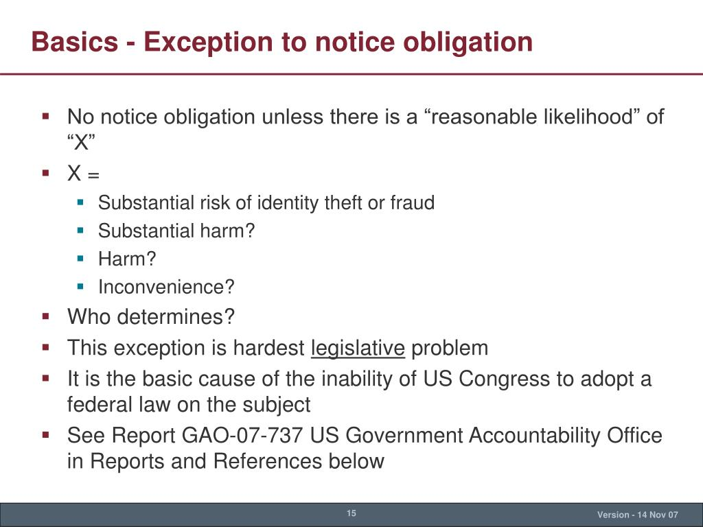 Basics - Exception to notice obligation