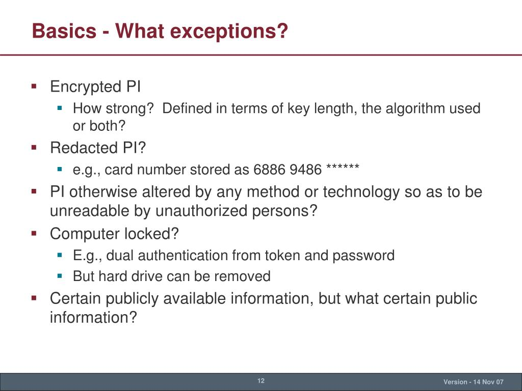 Basics - What exceptions?