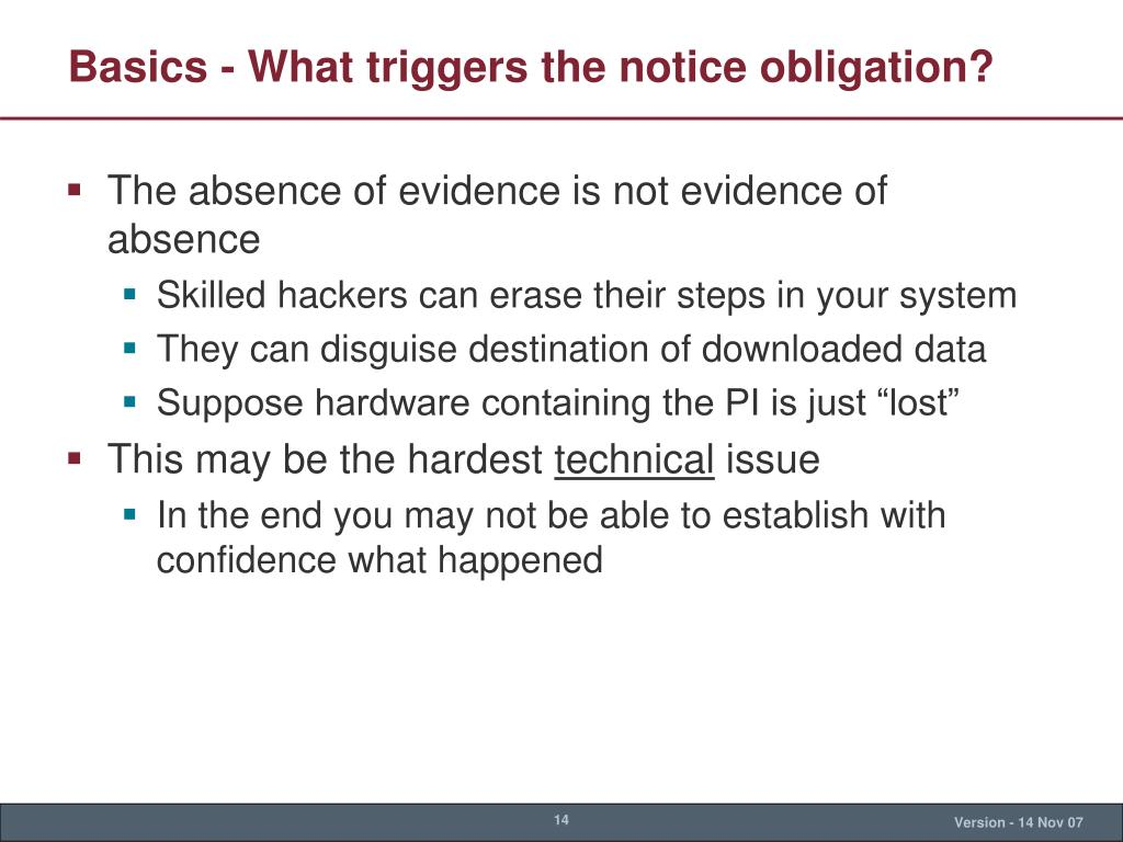 Basics - What triggers the notice obligation?