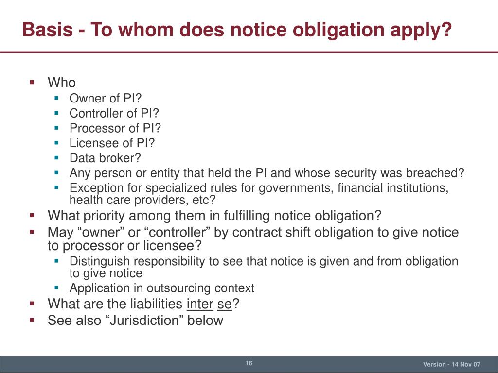 Basis - To whom does notice obligation apply?
