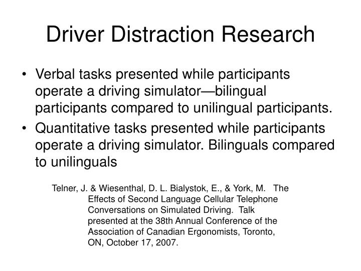 driver distraction research n.