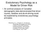 evolutionary psychology as a model for driver risk