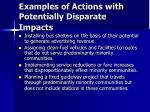 examples of actions with potentially disparate impacts
