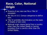 race color national origin