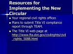 resources for implementing the new circular