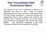 title i consolidated state performance report