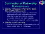continuation of partnership business cont d