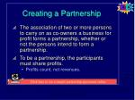 creating a partnership