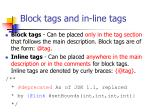 block tags and in line tags