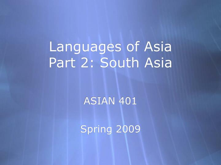 languages of asia part 2 south asia n.