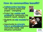 how do communities benefit