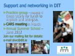 support and networking in dit