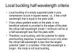 local buckling half wavelength criteria