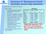 summary of business as usual includes current ship measures