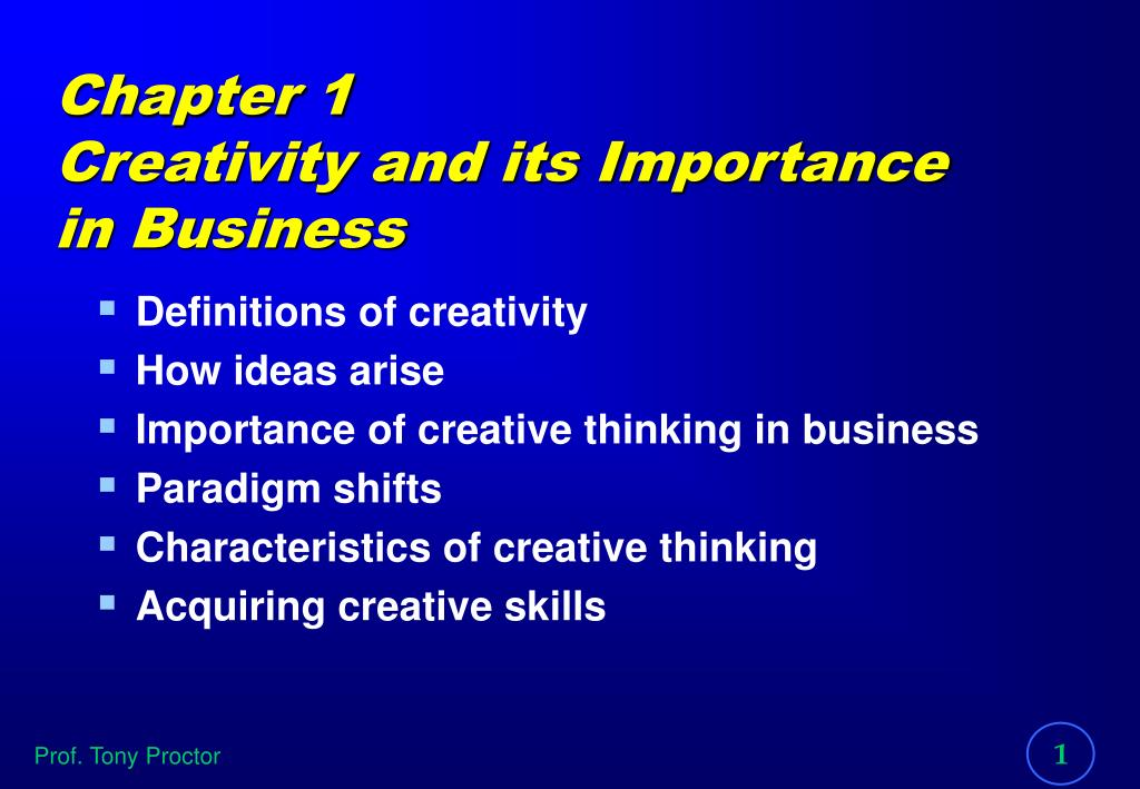 ppt chapter 1 creativity and its importance in business powerpoint