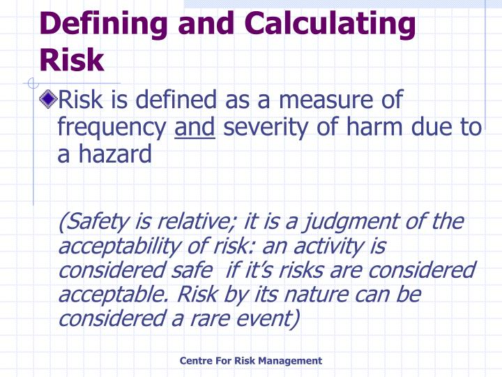 Defining and calculating risk