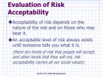 evaluation of risk acceptability