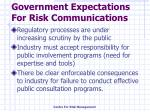 government expectations for risk communications