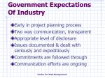 government expectations of industry
