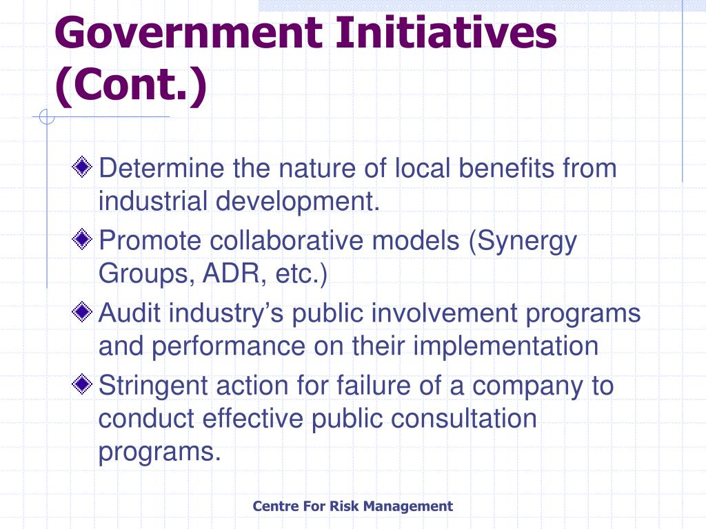 Government Initiatives (Cont.)