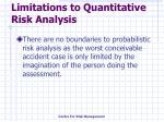 limitations to quantitative risk analysis