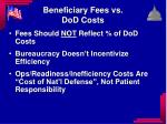 beneficiary fees vs dod costs