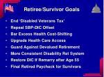 retiree survivor goals