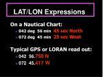 lat lon expressions
