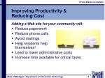 improving productivity reducing cost