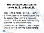 how to increase organizational accountability and credibility
