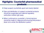 highlights counterfeit pharmaceutical products