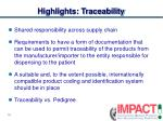 highlights traceability