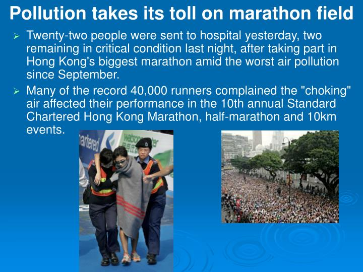 pollution takes its toll on marathon field n.
