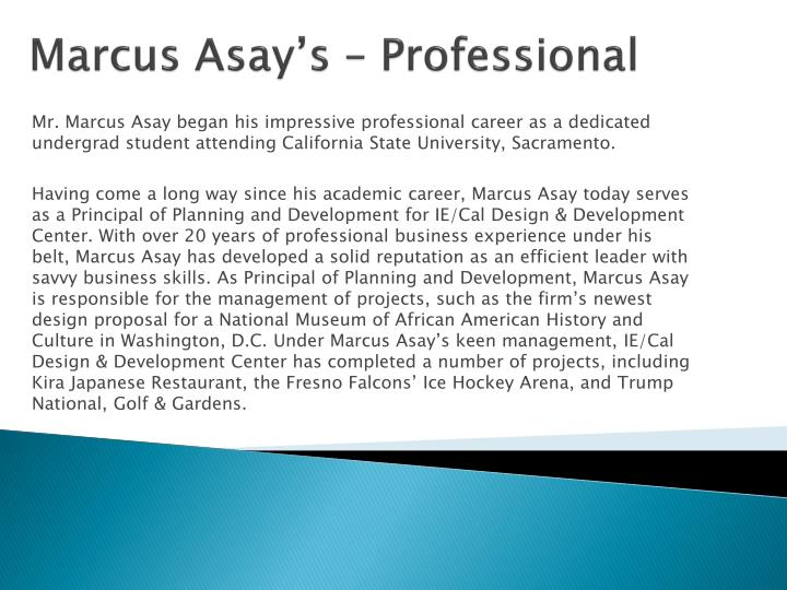 Marcus asay s professional