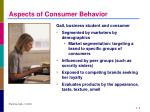 aspects of consumer behavior