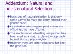 addendum natural and not so natural selection