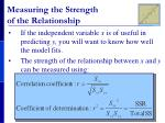 measuring the strength of the relationship