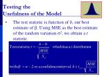 testing the usefulness of the model1
